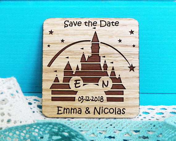 personalized mouse head fairy tale wedding wooden save the date magnets bridal shower party favors company