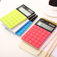 New Large Display LCD 12 Digits Ultra Slim Transparent Solar Calculator For Student School Office Stationery