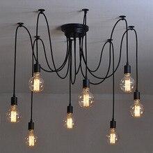 Современная сеть Ретро классическая люстра 8 E27 паук подвесной светильник лампа держатель группа Эдисон diy лампы освещения провод посыльного