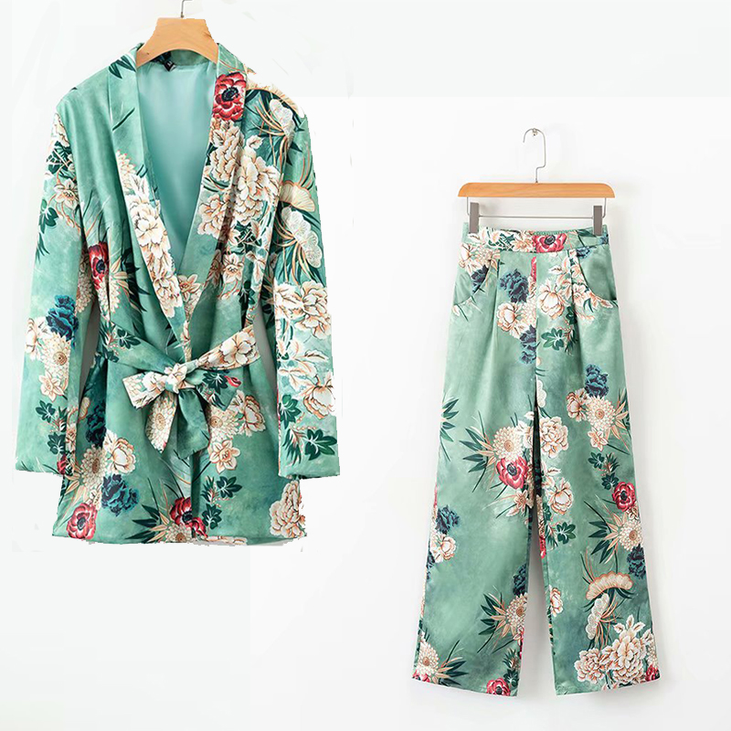 Fashion Suit Pants Suit 2019 Summer Temperament New Women's Printing Loose Suit Jacket Casual Wide Leg Pants Two-piece