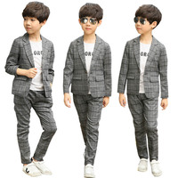 Boys Clothes Spring Children Clothing Set Kids Tracksuit for boys Clothes Coat Plaid Jackets Pants Formal Wear Clothes Boys Suit