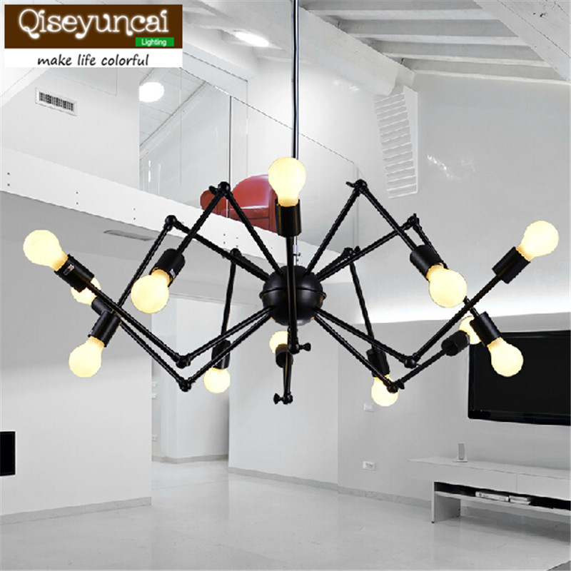 Qiseyuncai American industrial Loft Vintage E27 pendant light black painted for dining room home decoration iron lamp