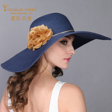 Charles Perra Sun Hats Female Elegant Fashion Straw Hat Collapsible Women Summer Beach Sunscreen Visor Caps Large Brim 0901