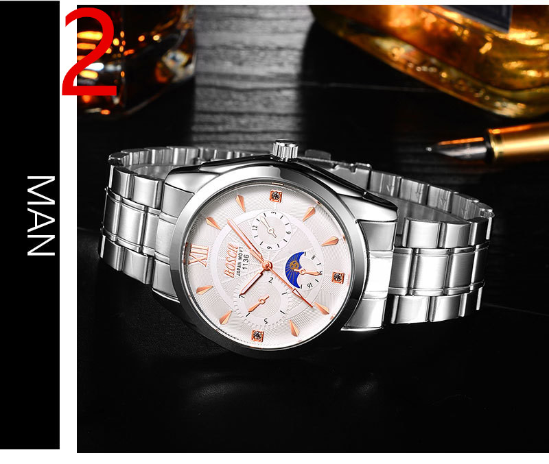 Men's new fashion stainless steel with simple leisure luxury business watch74 2018 new fashion stainless steel belt simple leisure luxury business watch