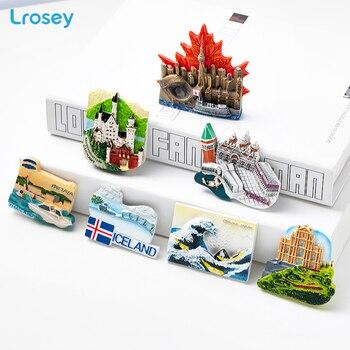 Mundo de imán de nevera souvenir Venecia Canadá edificio conocido refrigerador pegatinas magnéticas DIY decoración porta mensaje