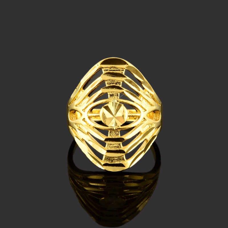 Mode GP couleur or évider cercle anneau rond taille 6 7 8 9 pour femmes hommes nouveau or bague bijoux JR062