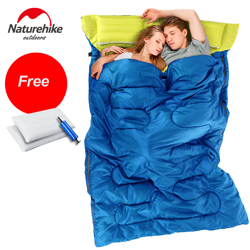 Naturehike Sleeping Bag Outdoor Camping Double Cotton Envelope Sleeping Bag With Double Pillow saco de dormir camping 215*145cm 70 180cm training fitness mma boxing bag hook hanging saco de boxe kick fight bag sand punch punching bag sandbag