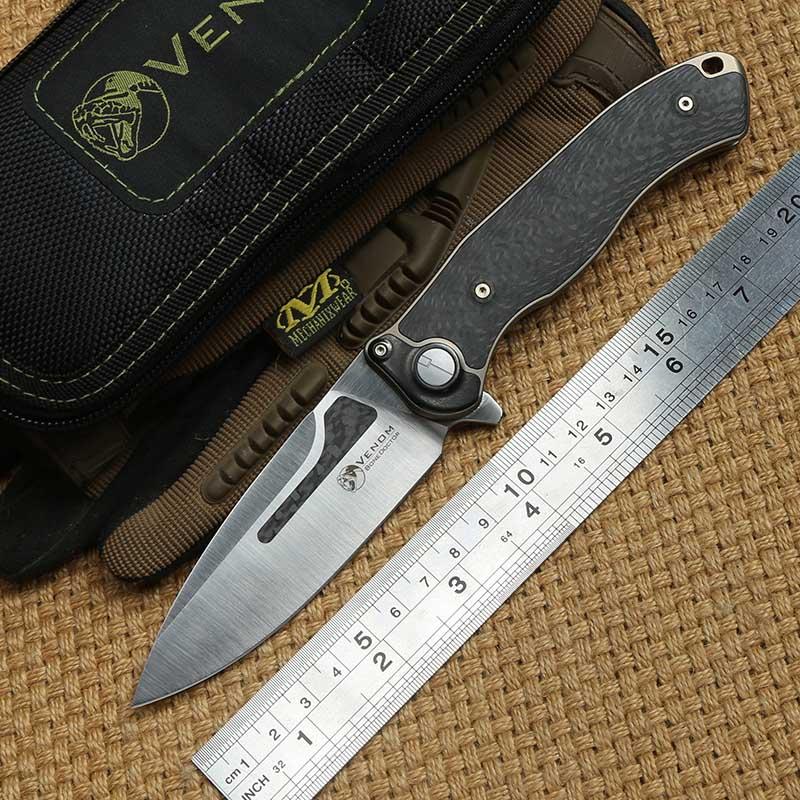 VENOM Bone Doctor M390 blade Titanium CF Flipper folding knife camping hunting kitchen fruit outdoor survival