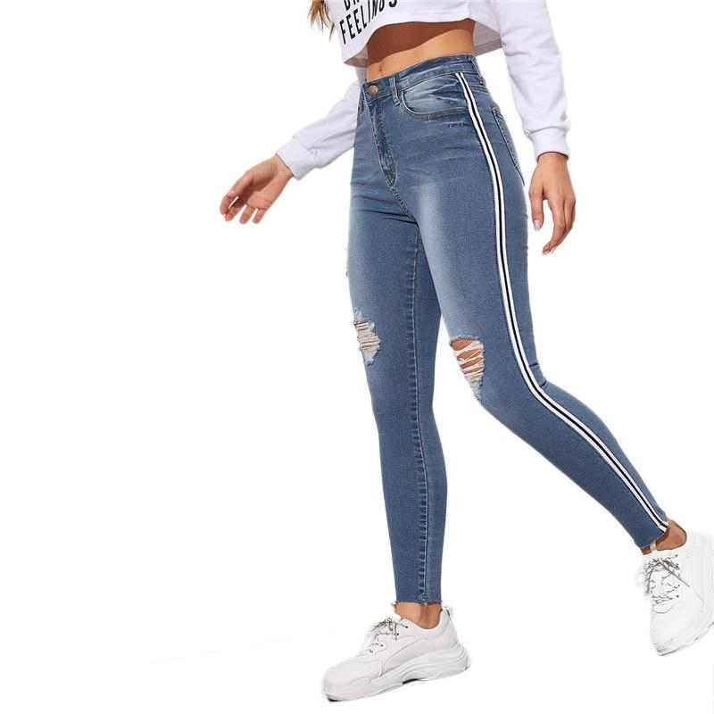 SweatyRocks Stripe Side Ripped Skinny Jeans Leisure Stretchy Long Denim Pants 19 Spring Women Streetwear Casual Blue Jeans 37