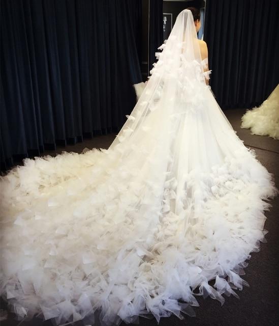 Robe De Mariee sur mesure Robe De fleurs en dentelle De luxe pour la fête De mariage avec Train bretelles élégantes robes De mariée princesse 2019 3