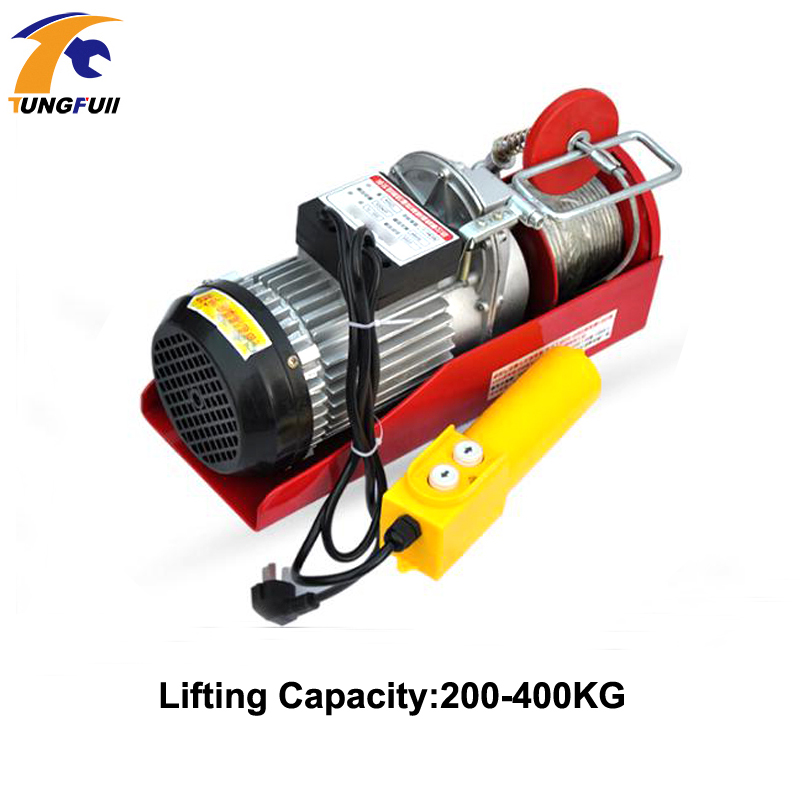 Mini Electric Hoist Crane Portable 980W 200-400kg 12Meters Small Home Crane Renovation Crane 220V 12m/min