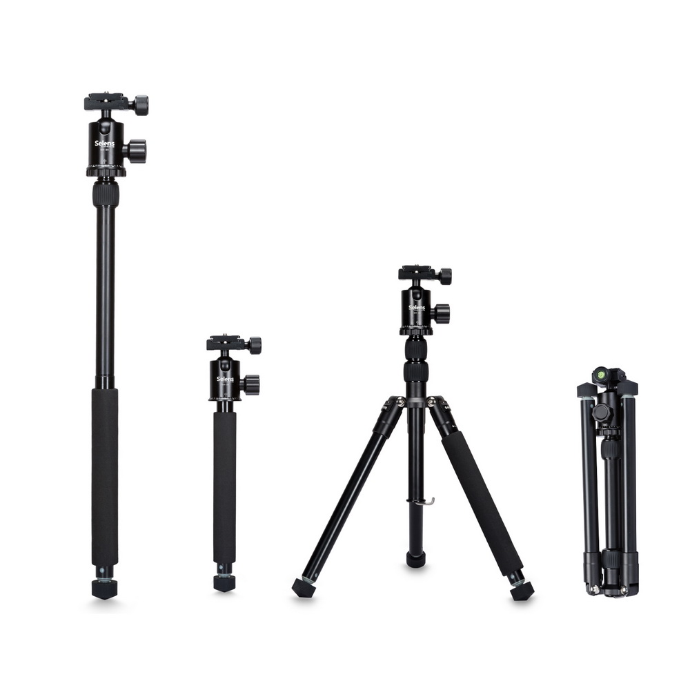 Selens 150cm/62 Black Professional Tripod Photography Monopod for DSLR Camera Portable Lightweight Travel Tripode Stand
