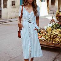 2019 vestido casual com decote em v botão midi vestido fasion roupas de verão para mulher vestidos casuais de verano marca moda mujer