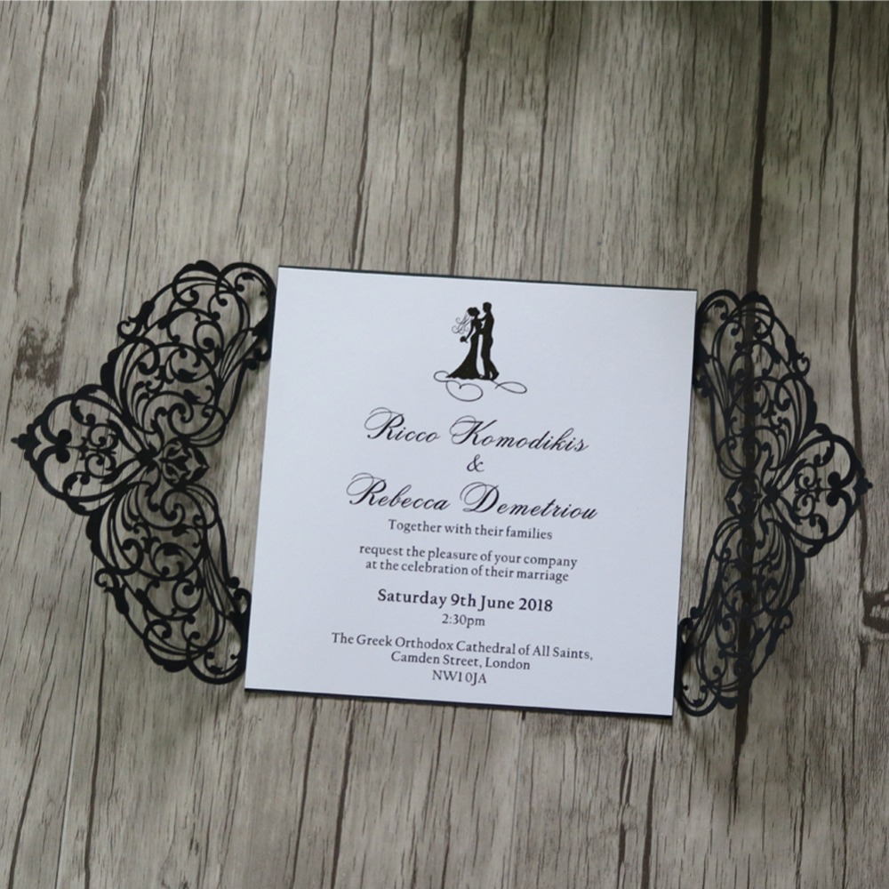 50 Personalized Engraved European Wedding Invitations Cards Party ...