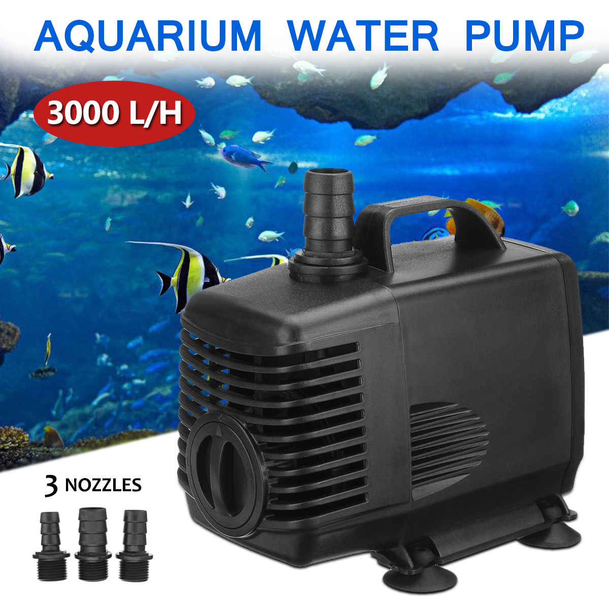 купить 3000L/H 3 Nozzles Aquarium Water Pump 220V-240V 45W Submersible Fountain Fish Tank Pond Fountain Air Water Pump Filter по цене 1918.48 рублей
