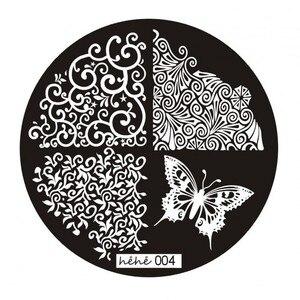 Image 4 - 1pc Nail Art Polish Stamp Plates 12 Designs Round Nail Stamping Plates DIY Nail Art Template Manicure Nail Tools Hehe 001 012#