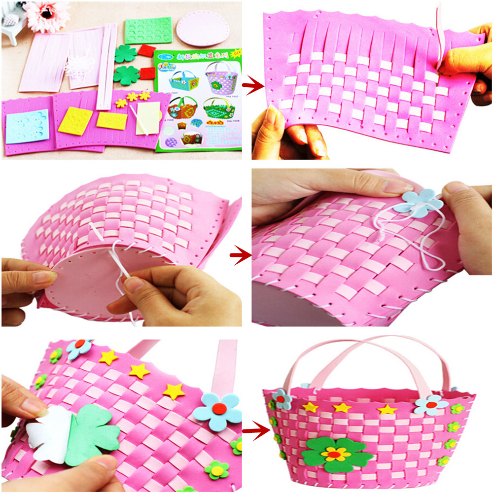 Confident Eva Diy Bags Cute Flower Style Bag Handmade Crafts Cartoon Sewing Backpacks Kids Children Creative Toys Boys Girls Braid Basket Firm In Structure