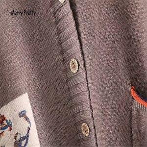 Image 5 - Frohe Ziemlich Mori Mädchen Pullover Frauen Kleidung Herbst Winter Voll Sleeved V ausschnitt Stickerei Vintage Weiblichen Lange Pullover Strickjacken