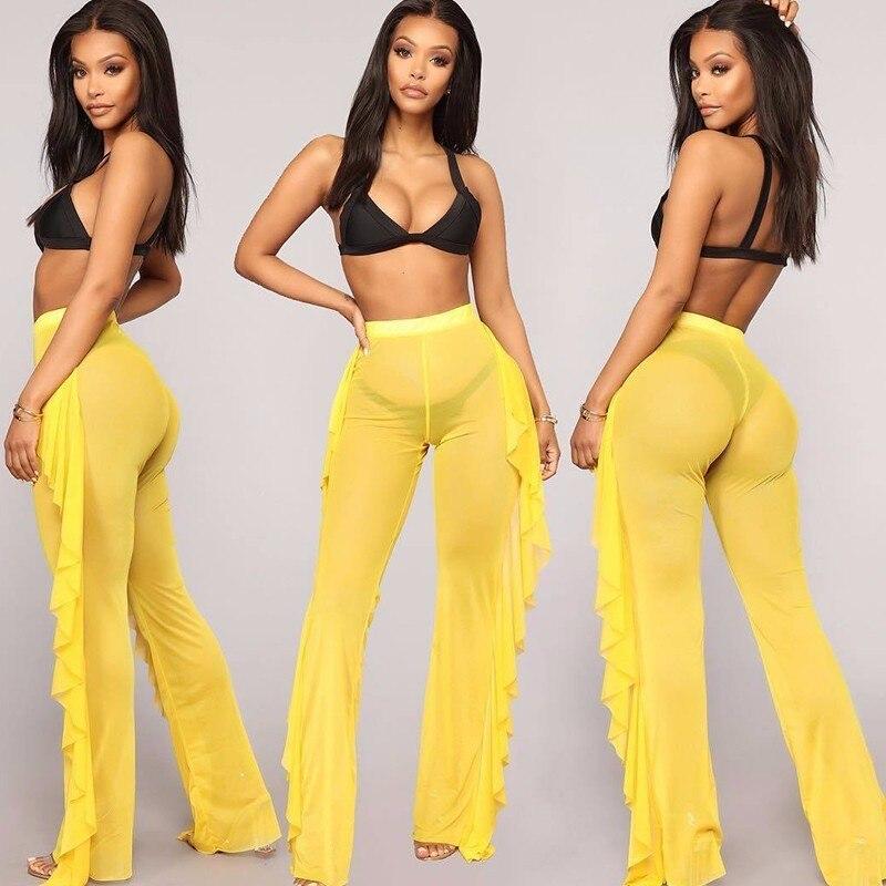MUXU fashion sexy transparent summer pants for women trousers clothes clothing woman ruffle