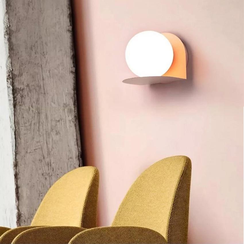 Nordic Luminária Criativa E27 Lâmpadas de Parede de Cabeceira Sala de estar Simples 4 Macarons Cor Ferro Levaram Luzes de Parede de Luz Da Escada - 3