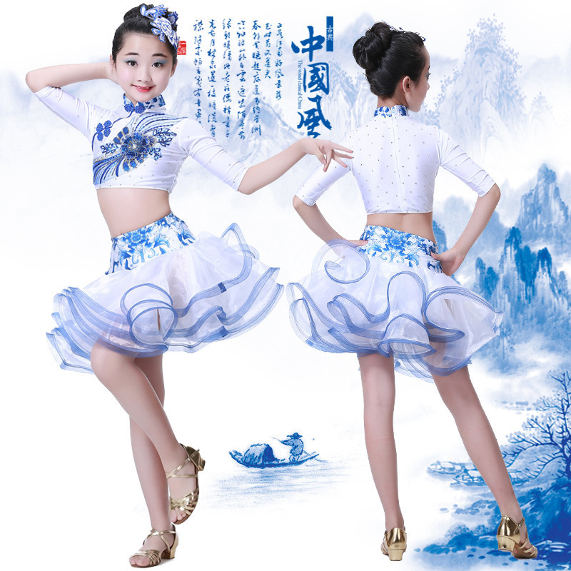 77e0087d6 Girls Latin dancing dress Kids Sequined Ballroom Modern Dance wear Outfits  Children's Jazz Party Stage wear Chinese Folk Dance