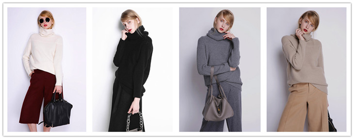 BELIARST New Autumn and Winter Cashmere Sweater Women's High Collar Thick Solid Color Sweater Loose Knit Sweater Wild Pullover 1