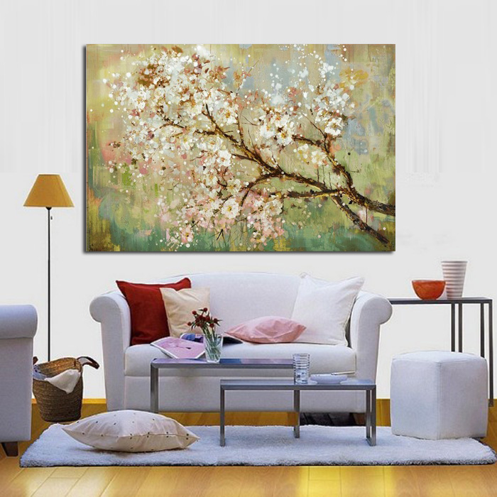 Cheap Large Frames Part - 30: Free Shipping Large Canvas Art Cheap 100% Hand Painted Abstract Flower Oil  Painting Modern Living Room Wall Decor No Framed