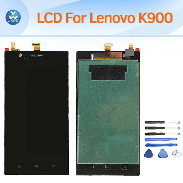 Substituição lcd original para lenovo k900 screen display lcd de toque digitador completa assembleia pantalla 5.5 polegada preto + ferramentas
