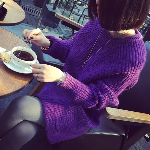 2196 new winter Korean fan temperament in the long loose sleeve head neck long sleeved sweater sweat er color