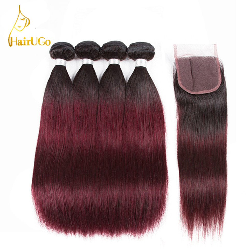 HairUGo Hair Pre -colored Brazilian 4 Bundles With Closure Human Hair #T1b/99j Non Remy Straight Hair Bundles With Closure