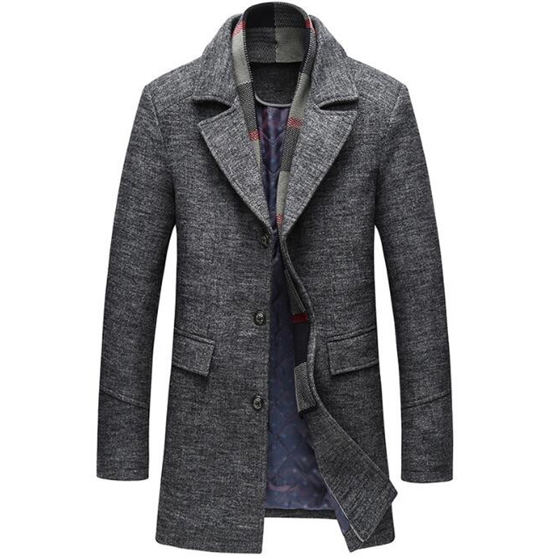Fashion male keep warm in winter high-grade slim Fit Woolen cloth coat men's cashmere business Trench coat Plus size M-4XL 5XL(China)