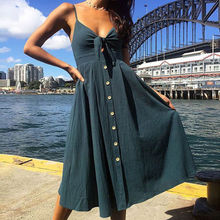 Sexy bow open back dot print beach summer dress women's 2019 deep V-neck button strapless midi dress  -13 plus crisscross v back glitter dot dress