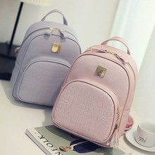 Sweet Wild Crocodile Skin Pattern Backpack High Quality Solid PU leather Fashion Girl Candy Color Small Female Bag
