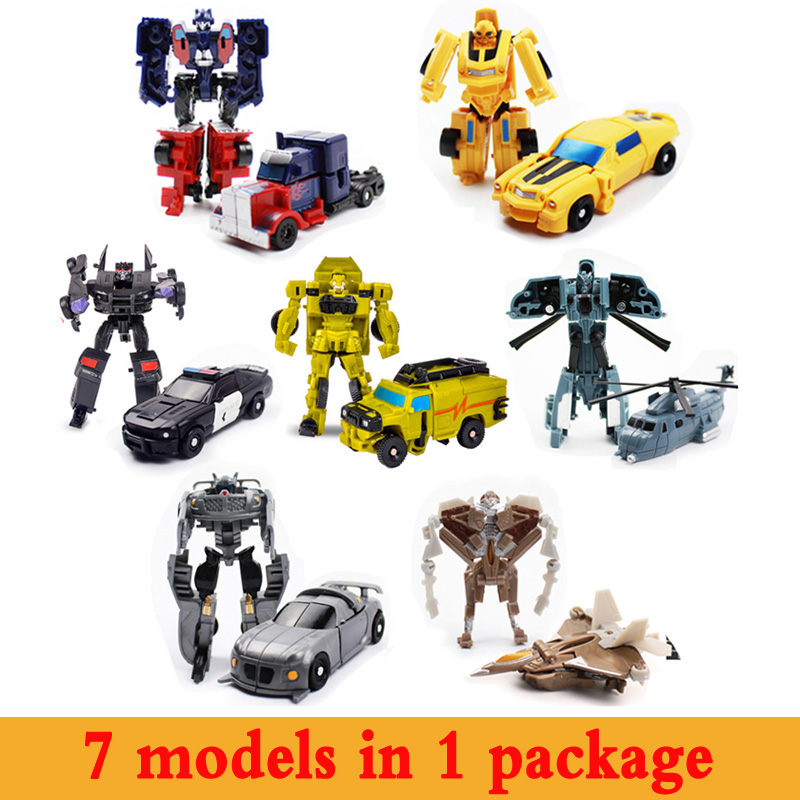 2016 Deformation Transformation 7pcs lot Kids Classic Robot Cars Toy For Children Mini Robot Vehicle Guard