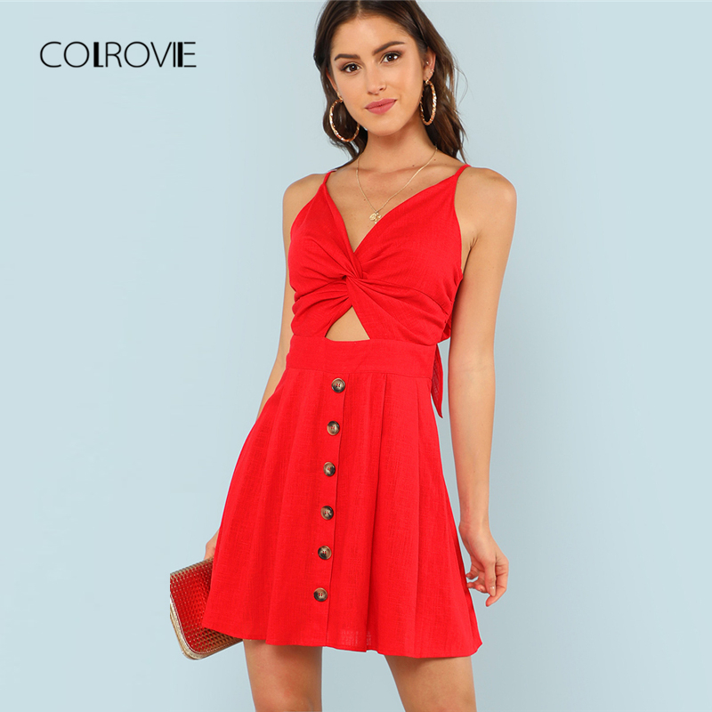 7cc4fcfac831 COLROVIE Twist Front Fit   Flare Cami Dress 2018 Summer Spaghetti Strap  Backless Bow Tie Sexy Dress Red Modern Women Dress-in Dresses from Women s  Clothing ...