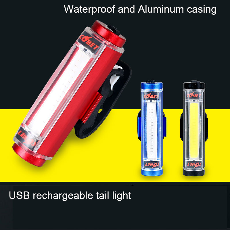 Aluminum COB Comet USB Rechargeable Cycling Bicycle Tail Light Taillight LED Safety Bike Rear Seat Light Lamp Bycicle