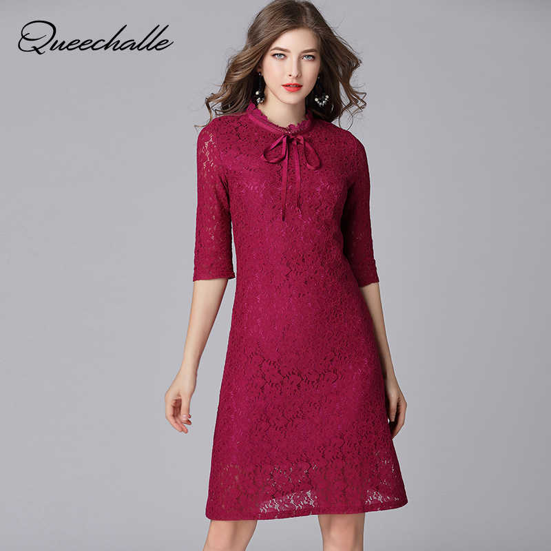 Queechalle Fuchsia Elegant Lace Dress for Women Bow Ties Collar Half Sleeve  Women Dress 3XL 4XL 9e27ec7099c8