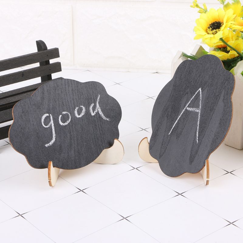 10pcs/bag Wooden Mini Cloud Shape Blackboard Table Sign Memo Message Stand Chalk Board Wedding Party Decoration Supplies