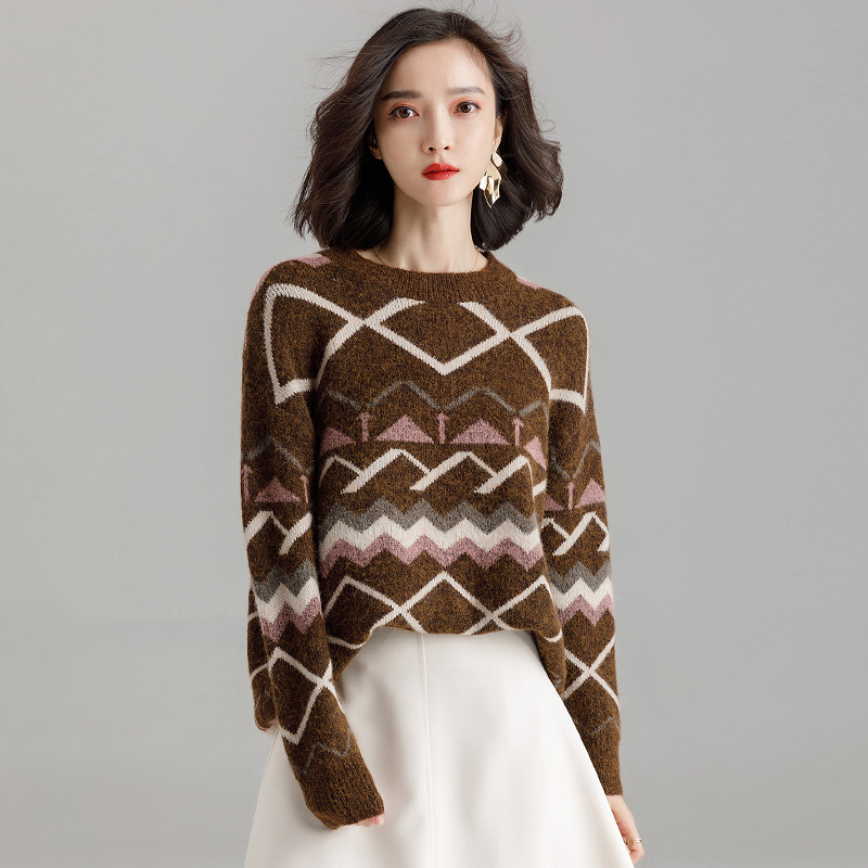 Women Sweaters And Pullovers Autumn Winter Long Sleeve O-Neck Knitted Jumper Top Female Loose Casual Vintage Argyle Sweater