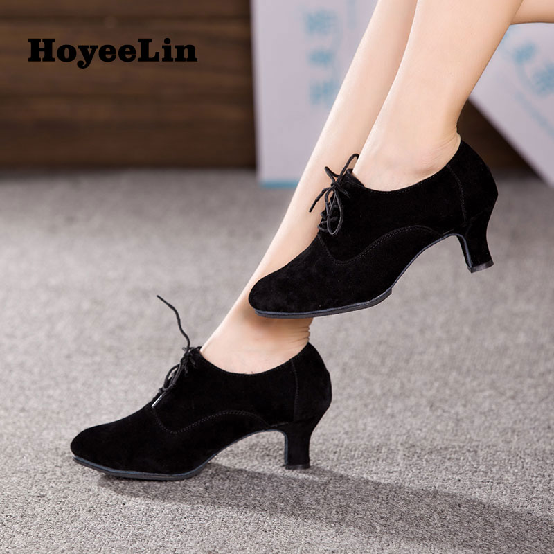 Lace Up Tango Dance Shoes Ladies Mid Heeled Ballroom Party Waltz Dancing Shoes