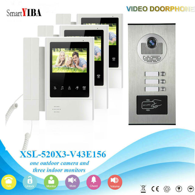Smartyiba Multi Apartment Building Video Intercom System Rfid Access Audio Visual Entry Ir Camera