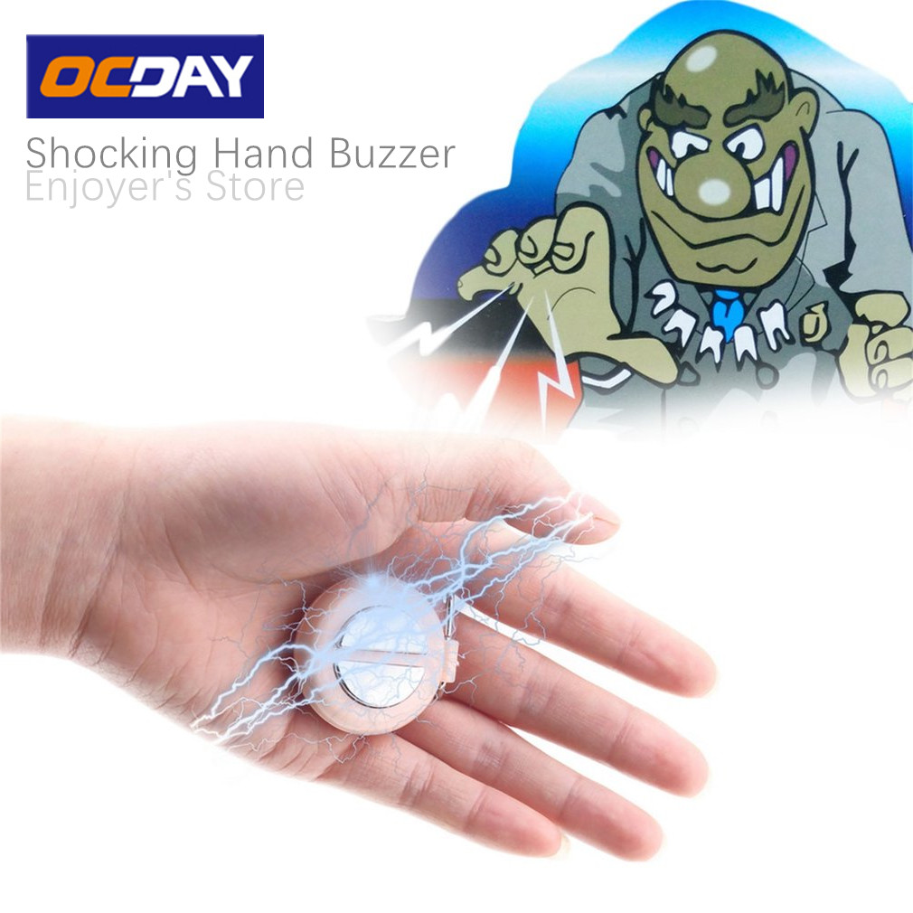 OCDAY Original Funny Shocking Hand Buzzer Shock Joke Toy Prank Novelty Electric Buzzer Party Play Joke Trick Toy Random Color