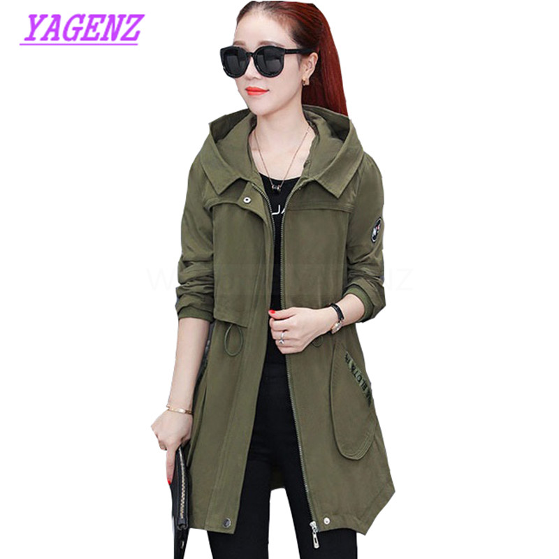2018 New Autumn Winter Windbreaker Women Fashion Slim Long   Trench   coat Young women Upscale Hooded Plus size Overcoat 3XL B277