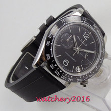 цена 39mm PARNIS Black Dial Chronograph Rubber strap Sapphire Glass Quartz Movement men's Watch онлайн в 2017 году