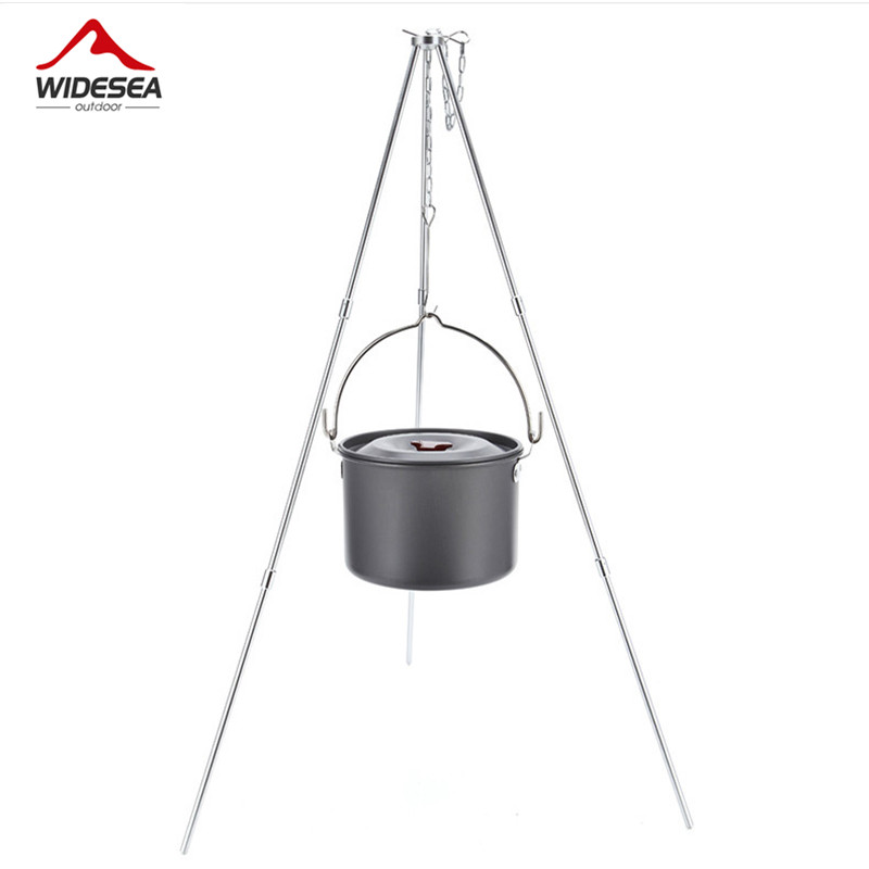 лучшая цена Widesea 4L camping cookware outdoor tableware hanging pot pan 4-6 persons picnic cooking set