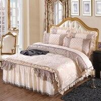 Жаккардовая ткань флис зимний комплект постельных принадлежностей мягкий теплый постельное белье 4/6 шт. полный queen King size кружева кровать юб
