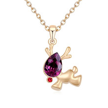 Christmas Jewelry New Arrival Fashion Gold Plated Elk Deer Elements Women Pendant Chain Necklace Crystal from Swarovski