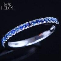 HELON 925 Sterling silver 0.4CT 100% Genuine Sapphires Half Eternity Ring Sapphire Gemstone Engagement Wedding Band Fine Jewelry
