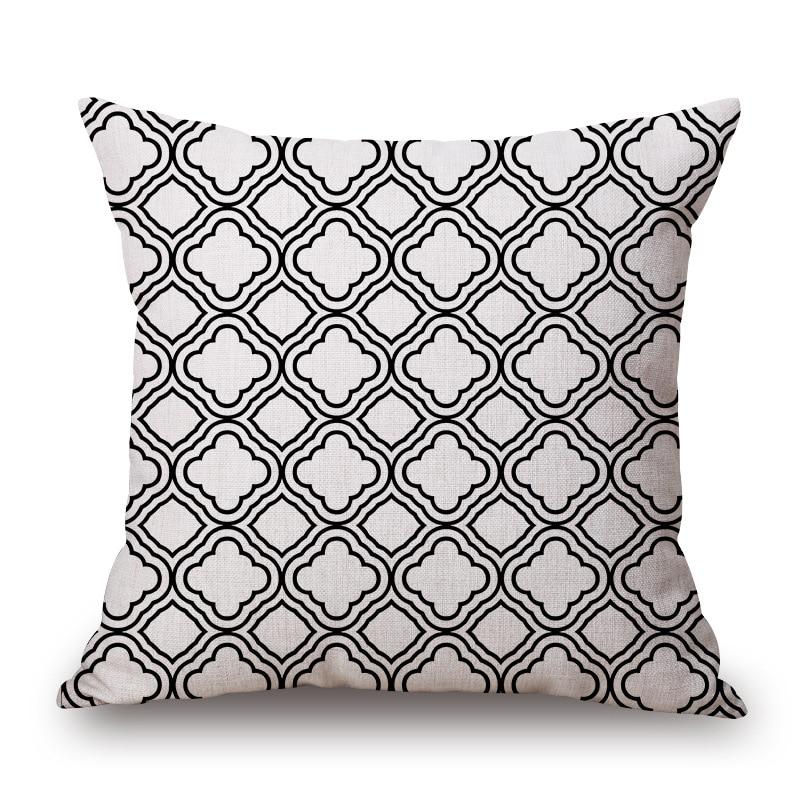 1 Stuk Fashion Zwart Wit Europese Patroon Seat Knuffel Pillow Cover Decoratieve Thuis Stoel Sierkussen Case Katoen Linnen 45x45 Cm Lekkernijen Geliefd Bij Iedereen