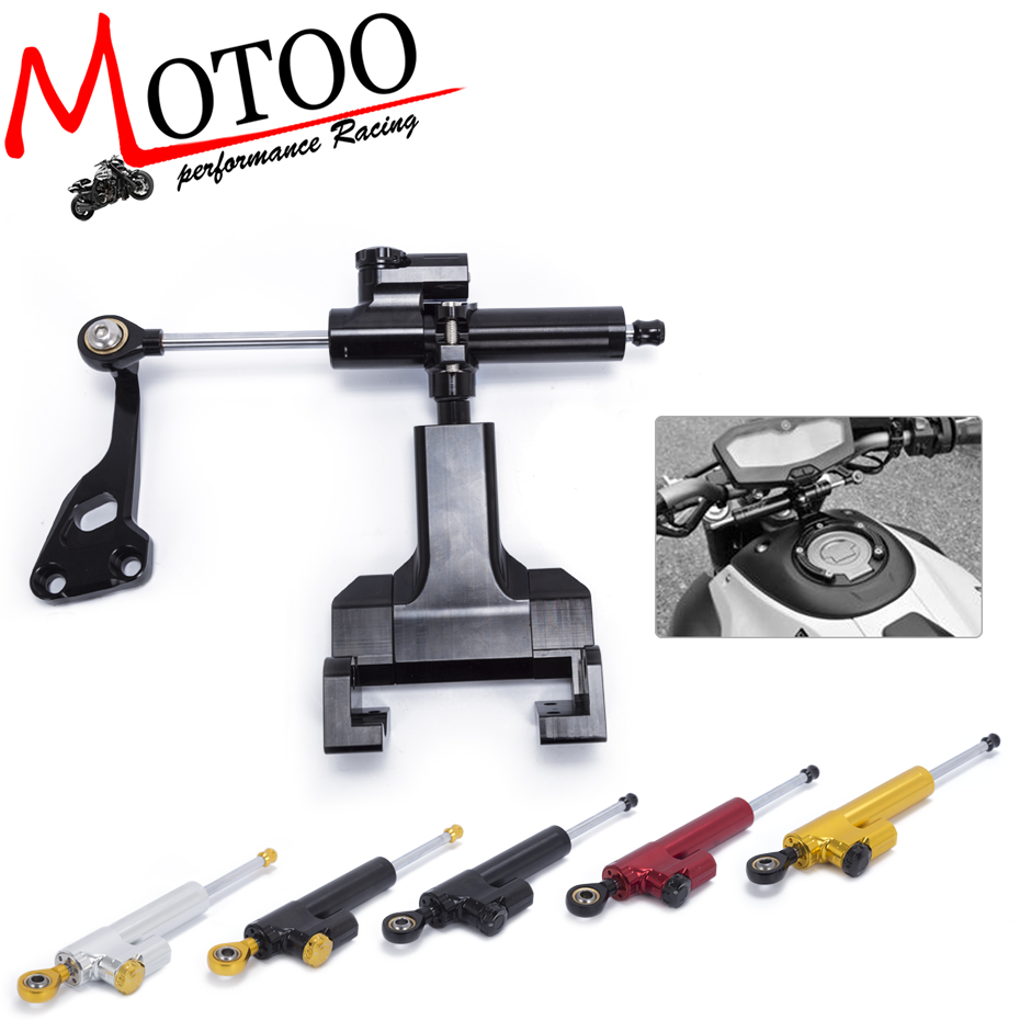 Motoo - FREE SHIPPING Motorcycle Aluminium Steering Stabilizer Damper Mounting Bracket Kit For YAMAHA MT07 MT-07 FZ07 2014-2017 motorcycle tail tidy fender eliminator registration license plate holder bracket led light for ducati panigale 899 free shipping
